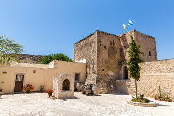 Monastery (friary) in Messara Valley at Crete island in Greece.