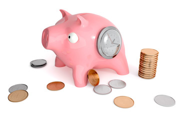 Piggy bank with clocks and coins
