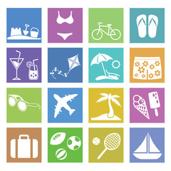 Summer Holiday Flat icons for Web and Mobile Applications