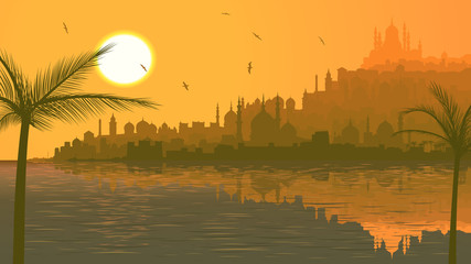 Illustration of big arab city by sea at sunset.
