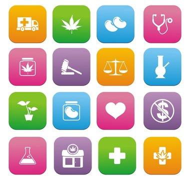 medical marijuana icons - flat style icons