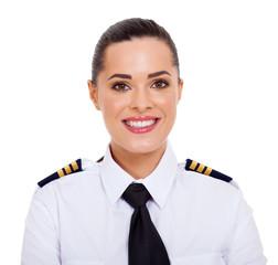 female airline pilot closeup portrait
