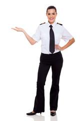 female airline pilot presenting
