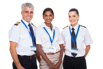 airline crew standing on white background