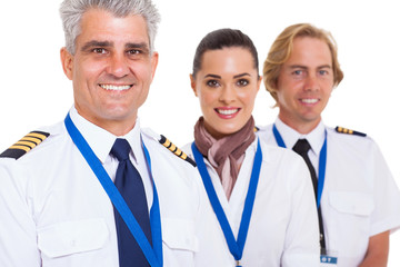 middle aged pilot and crew