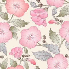 Seamless pattern with hibiscus.