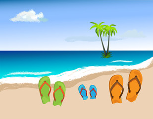 Summer shoes on beach, vector