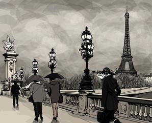 Photo sur Aluminium Art Studio Drawing of Alexander III bridge in Paris showing Eiffel tower