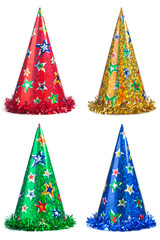 Set of shiny party hats on white background