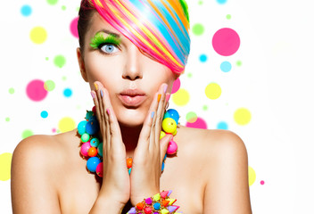 Fototapeta Beauty Girl Portrait with Colorful Makeup, Hair and Accessories obraz