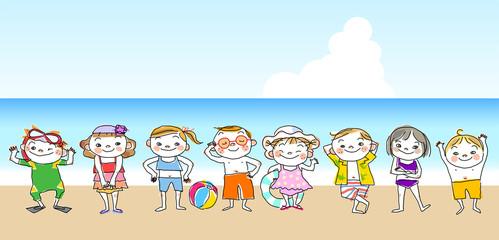 子供 海水浴 夏 イラスト