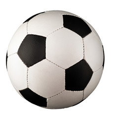 A classical soccer ball, also called football ball, with black pentagons and white hexagons.