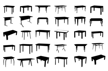Set of table isolated. vector illustration