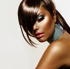 Wall Mural - Fashion Beauty Girl. Stylish Haircut and Makeup