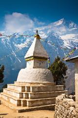 Buddhist stupa with prayer flags. Nepal