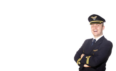 Airliner pilot in uniform on white background