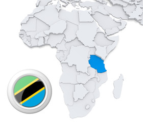 Tanzania on Africa map