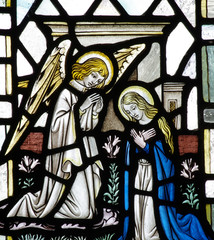 Fototapete - Annunciation: Mary and gabriel