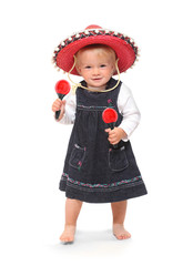 Little girl singing and dancing in the mexican sombrero
