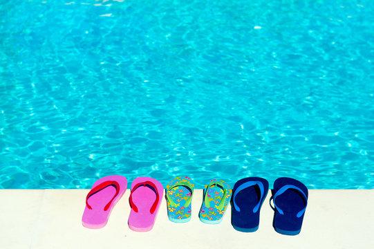 Flip flops at swimming pool