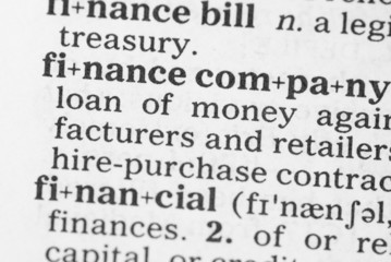 Macro image of dictionary definition of finance