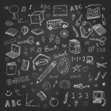 Back to school doodles in chalkboard background eps 10