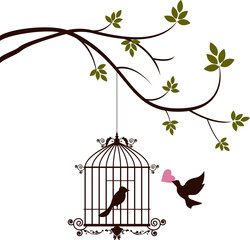Printed roller blinds Birds in cages bird are bringing love to the bird in the cage