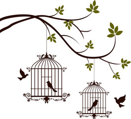 Printed roller blinds Birds in cages tree silhouette with birds flying and bird in a cage