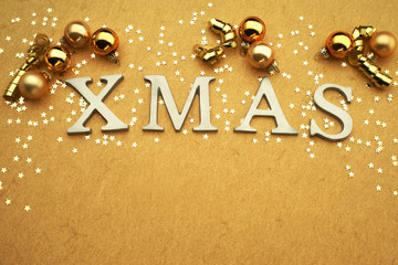 Xmas Background with letters and stars