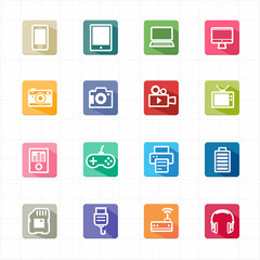 Flat Icons electronic devices and white background