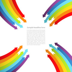 Background with rainbow lines with arrows. Vector.