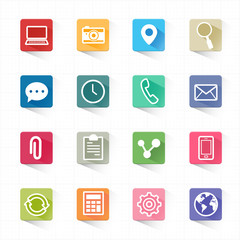 Web mobile applications flat icons set and white background