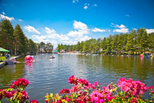 Beautiful lake on mountain Zlatibor, Serbia.