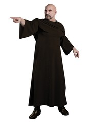 Robed warlock pointing and casting a spell