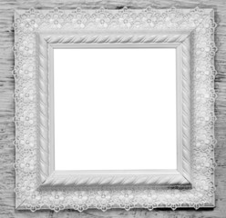 white wooden frame with lace