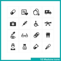 Medicine icons set. Vector black pictograms.