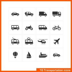 Transportation icons set. Vector black pictograms.