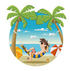 Cartoon man on beautiful tropical beach