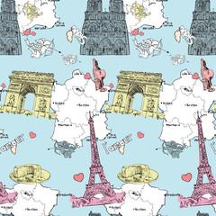 Foto op Canvas Illustratie Parijs Vector seamless texture with french motive.