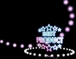 best product symbol  on disco lights background