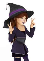 sweet witch happy peace and love close upside view