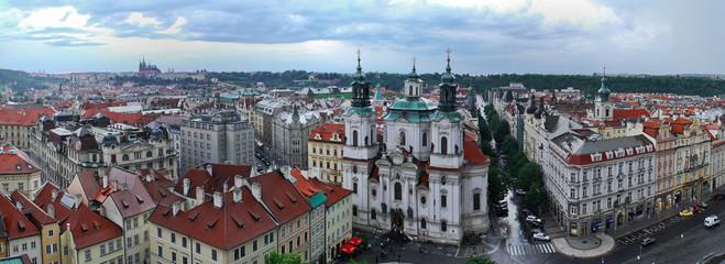 Panoramic Prague view on Church of St. Nicholas