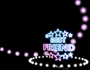 best friend symbol  on disco lights background