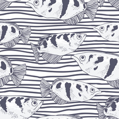 Seamless background with fish