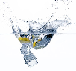 Healthy Water with Lemon. Splashing