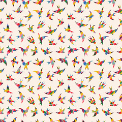 Wall Mural - Spring birds seamless pattern