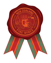Wax seal with the words New Zealand, Fine Wines, vector