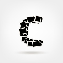 Letter C made from photo frames, insert your photos