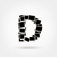 Letter D made from photo frames, insert your photos