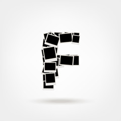 Letter F made from photo frames, insert your photos